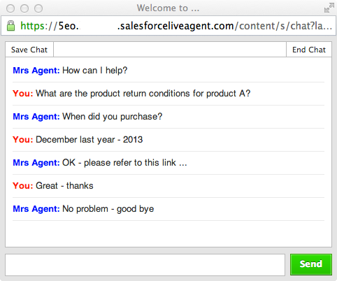 Live Agent - Chat Window View