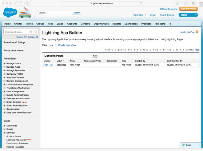 Lightning App Builder - Setup